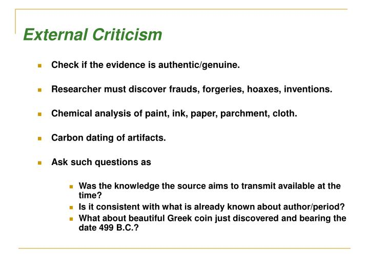 External Criticism