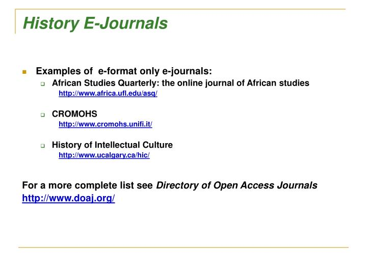 History E-Journals