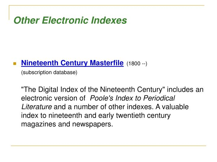 Other Electronic Indexes