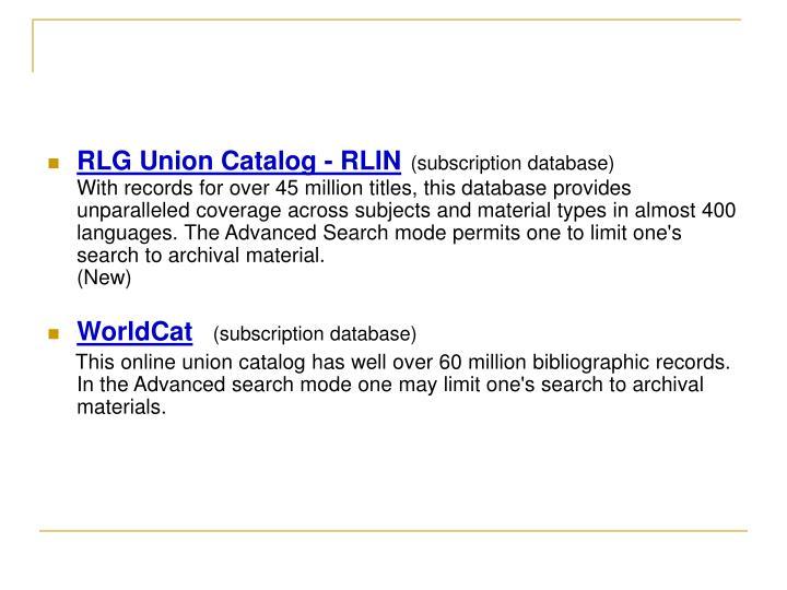 RLG Union Catalog - RLIN