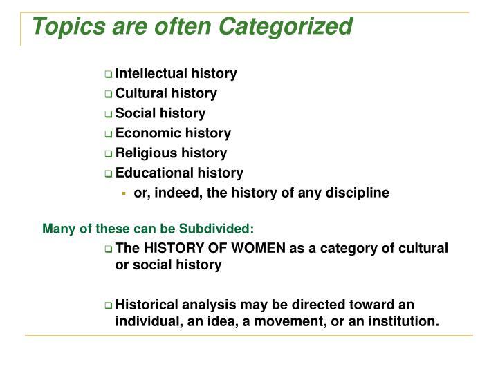 Topics are often Categorized