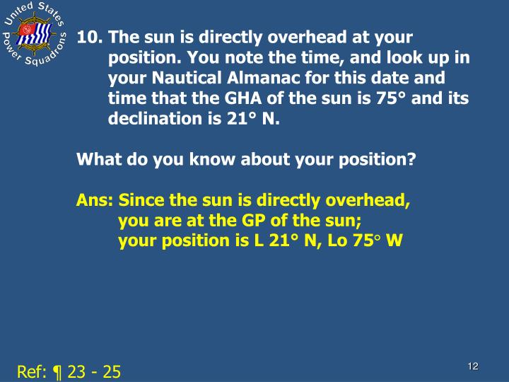 10. The sun is directly overhead at your position. You note the time, and look up in your Nautical Almanac for this date and time that the GHA of the sun is 75° and its declination is 21° N.