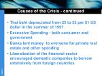 causes of the crisis continued