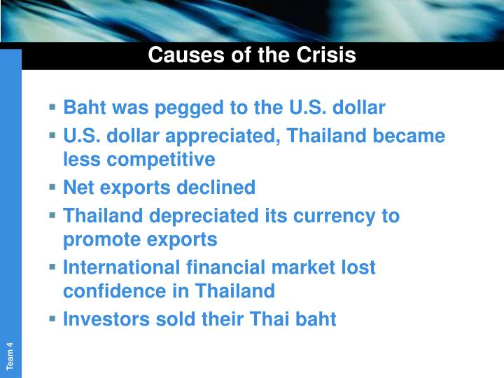 causes of the asian currency crisis Evidence on the causes of the 1997 asian financial crisis, with a view to discriminating  imbalances triggered the currency and financial crisis in 1997 even as .