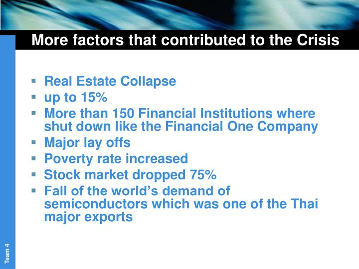 More factors that contributed to the Crisis