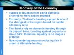 recovery of the economy