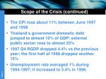 scope of the crisis continued