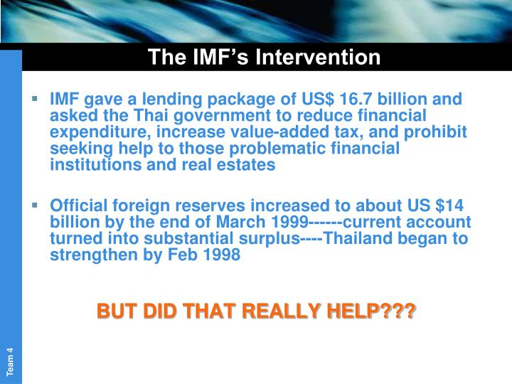 The IMF's Intervention