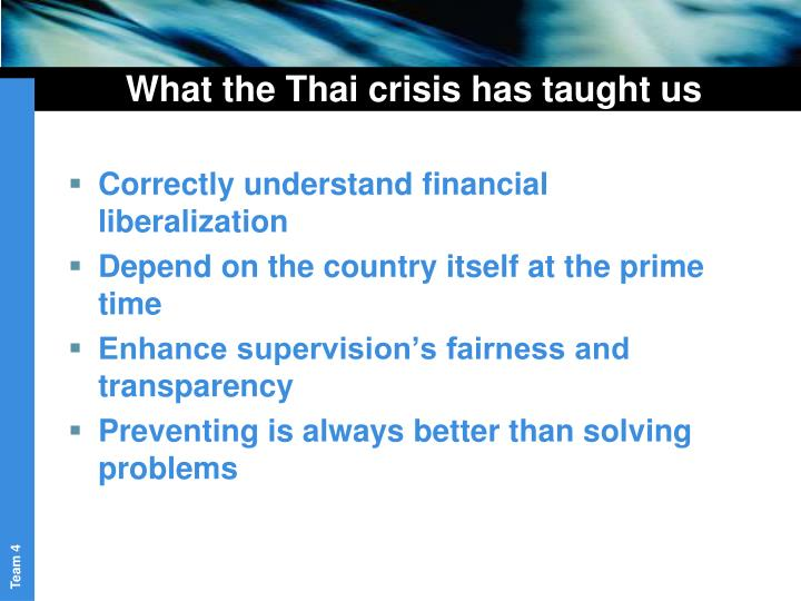 What the Thai crisis has taught us
