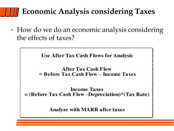 Economic Analysis considering Taxes