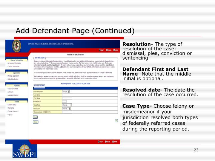 Add Defendant Page (Continued)