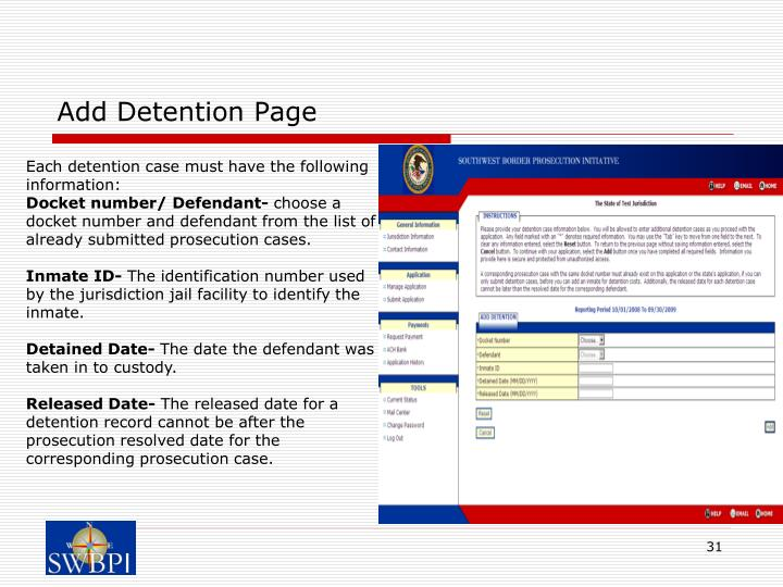 Add Detention Page