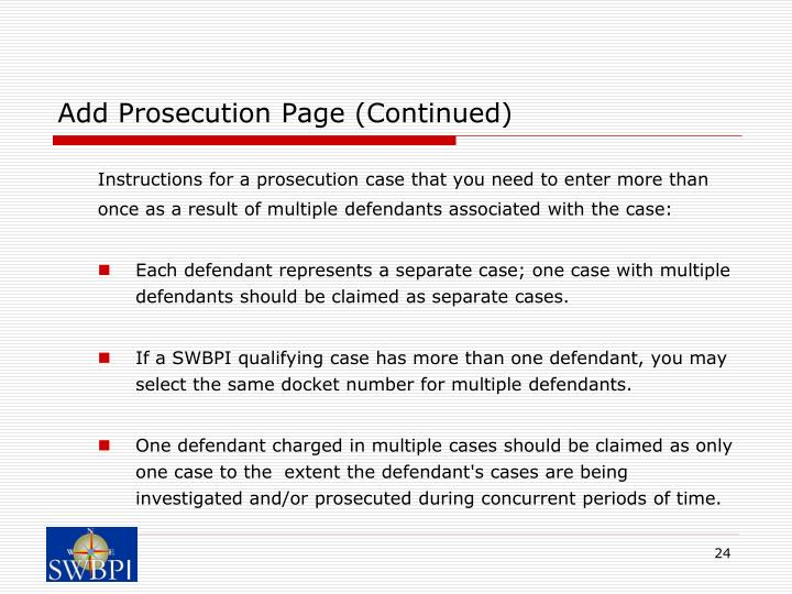 Add Prosecution Page (Continued)