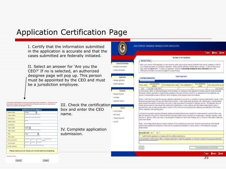 Application Certification Page