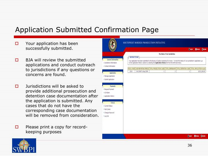 Application Submitted Confirmation Page