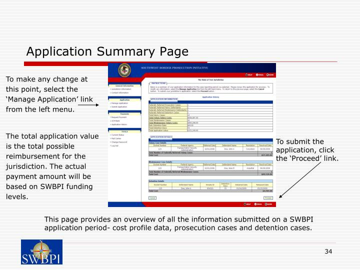 Application Summary Page