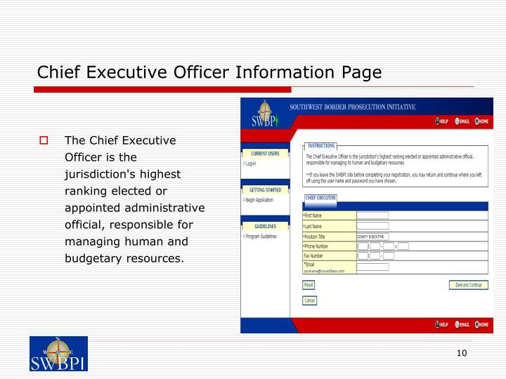 Chief Executive Officer Information Page
