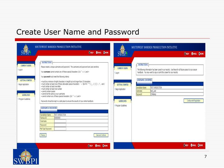 Create User Name and Password