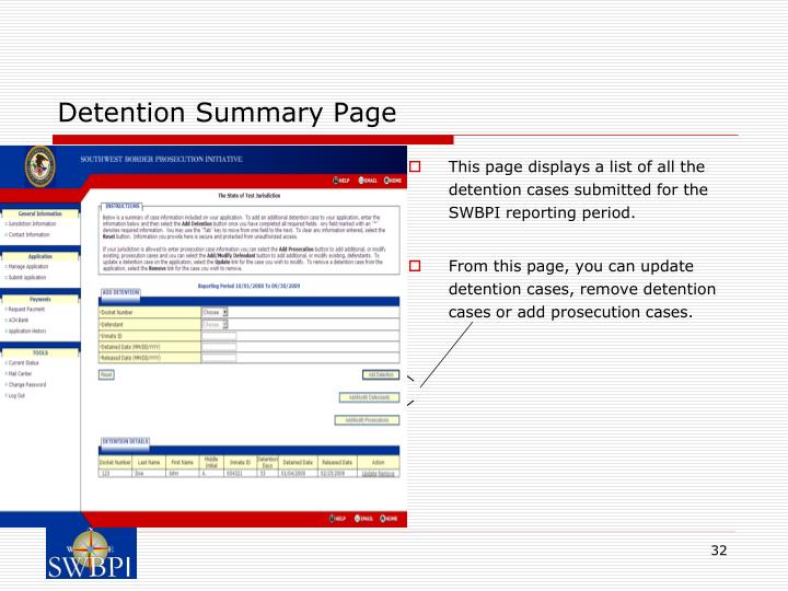 Detention Summary Page