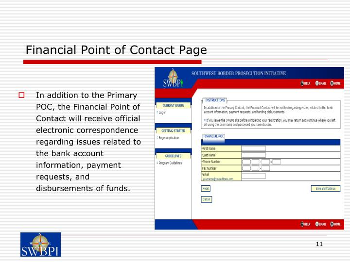 Financial Point of Contact Page