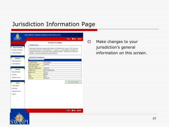 Jurisdiction Information Page