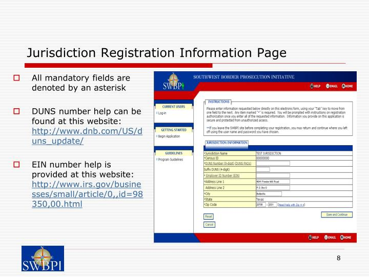 Jurisdiction Registration Information Page