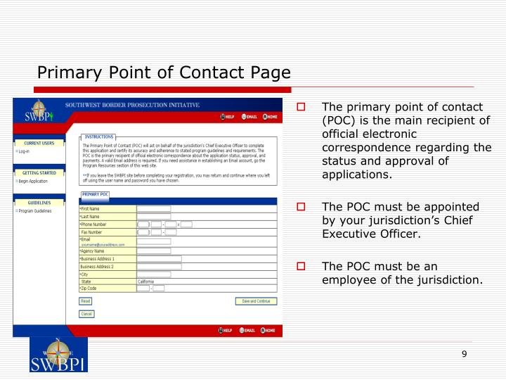 Primary Point of Contact Page