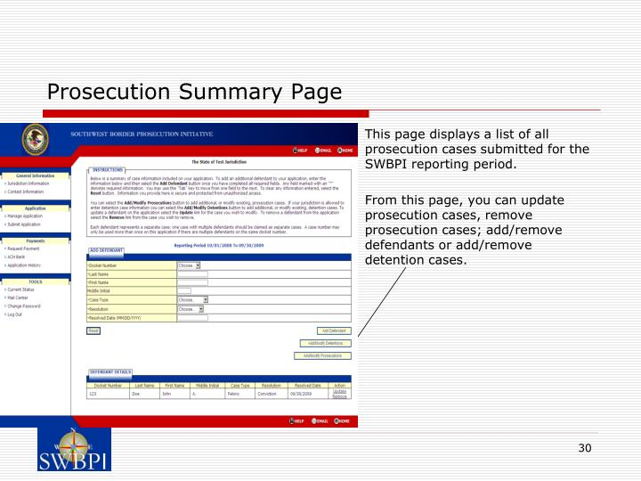 Prosecution Summary Page