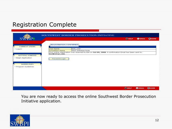 Registration Complete