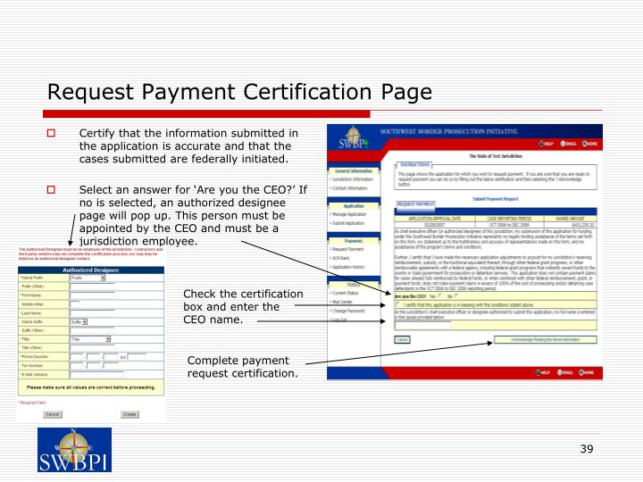 Request Payment Certification Page