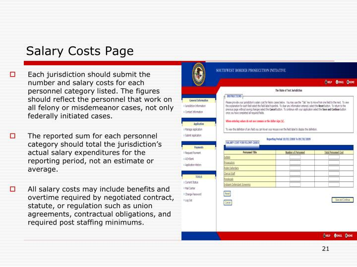 Salary Costs Page