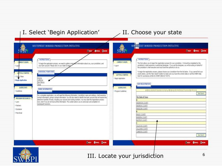 I. Select 'Begin Application'