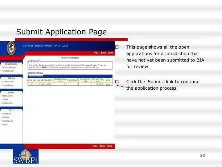 Submit Application Page