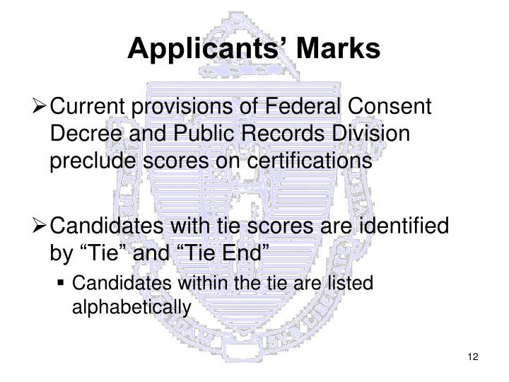 Applicants' Marks