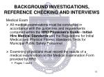 background investigations reference checking and interviews1