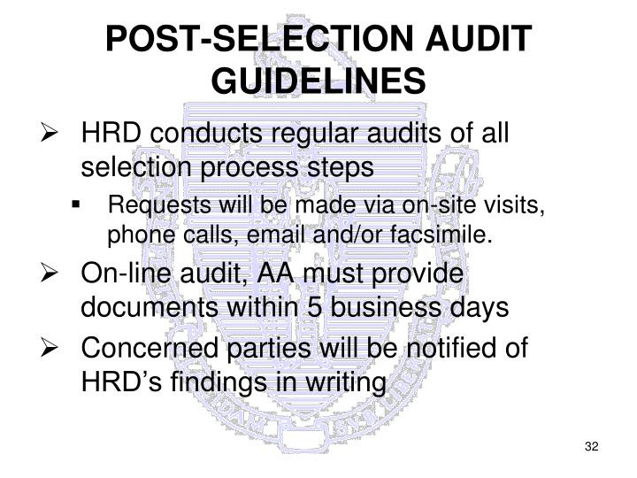 POST-SELECTION AUDIT GUIDELINES