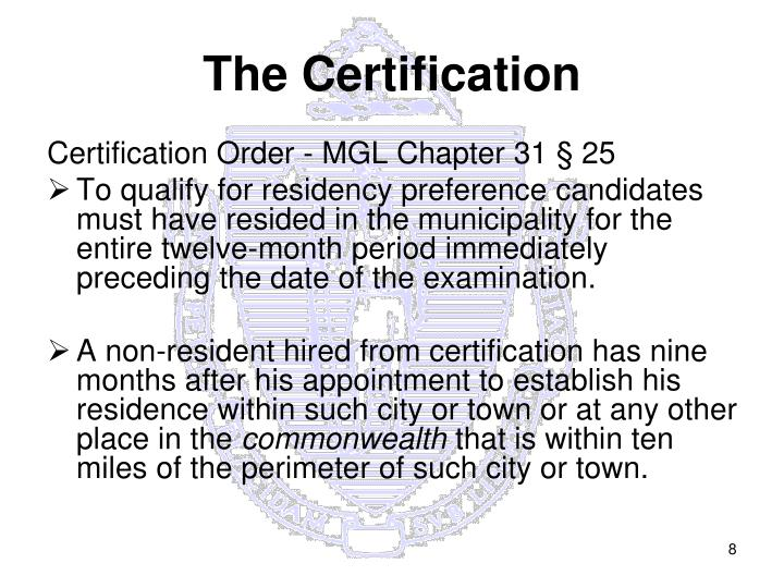 The Certification
