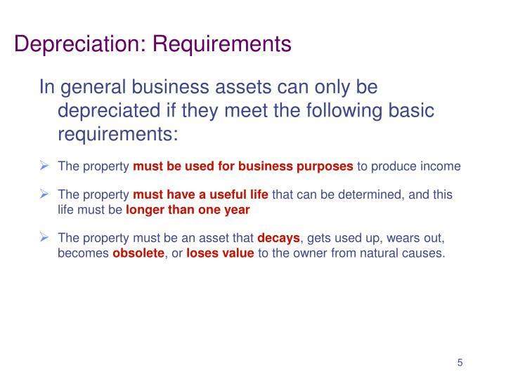 Depreciation: Requirements