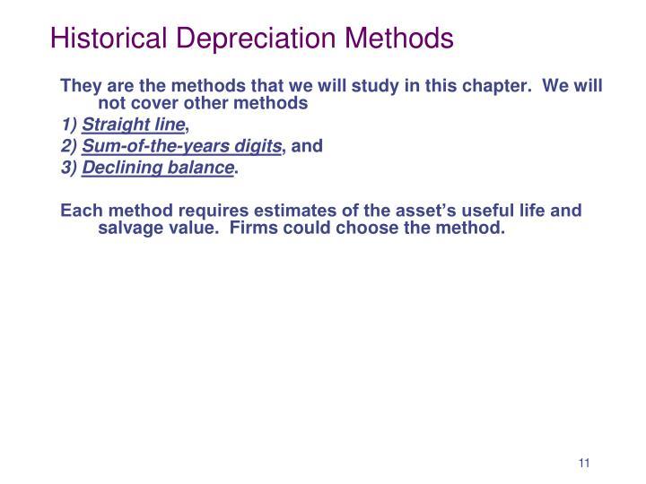 Historical Depreciation Methods