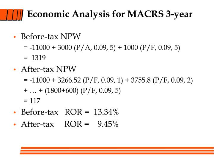 Economic Analysis for MACRS 3-year