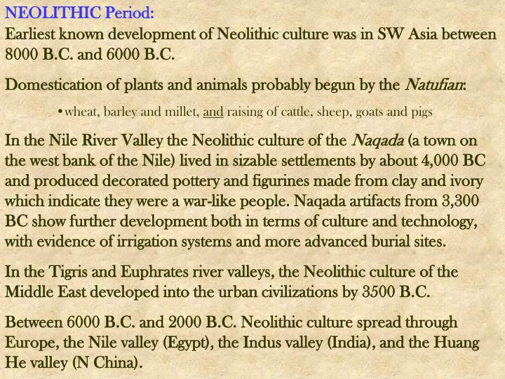 NEOLITHIC Period: