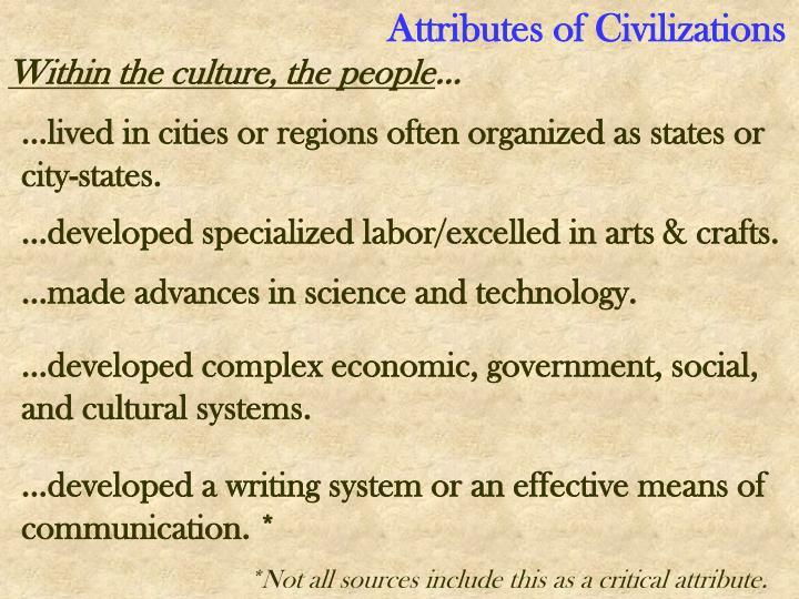 Attributes of Civilizations