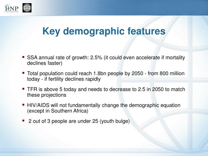 Key demographic features