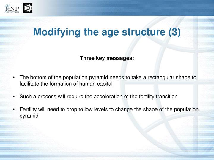 Modifying the age structure (3)