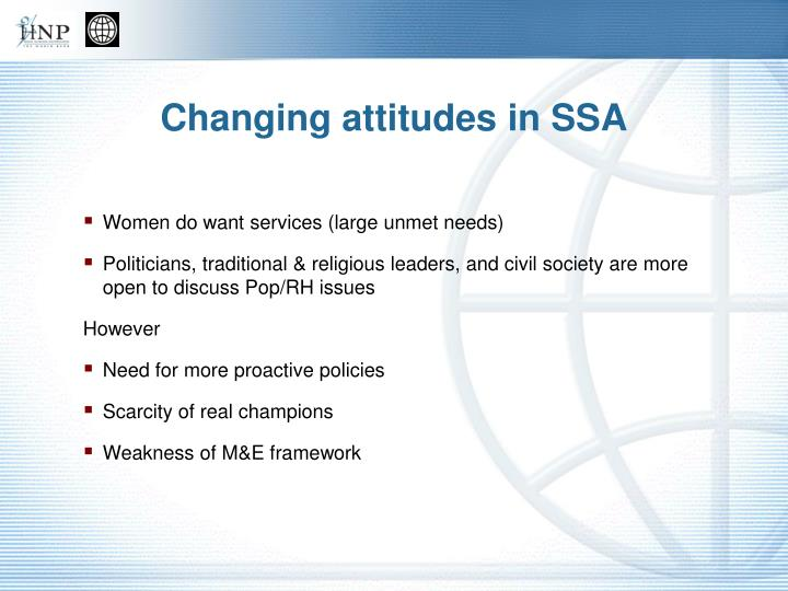 Changing attitudes in SSA