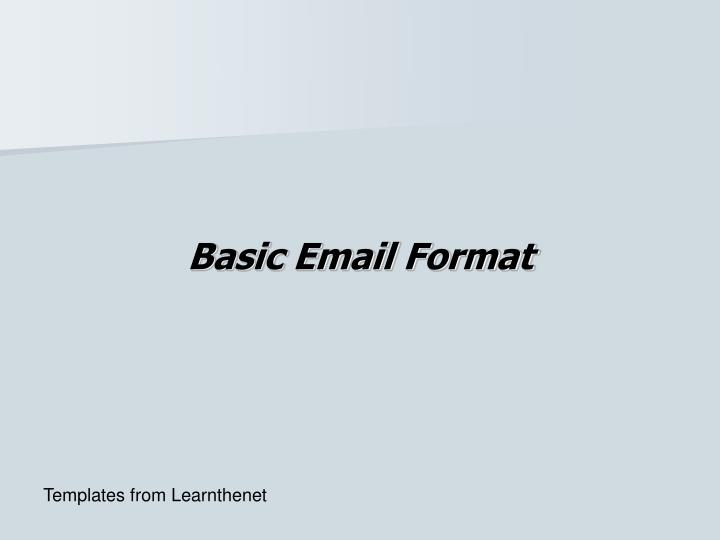 Basic Email Format