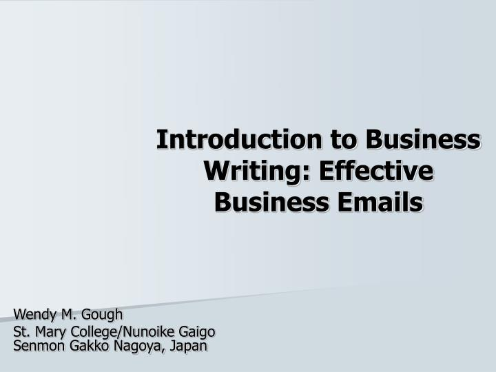 introduction to business writing effective business emails