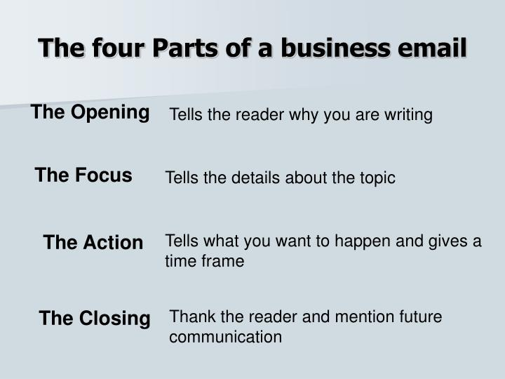 The four Parts of a business email