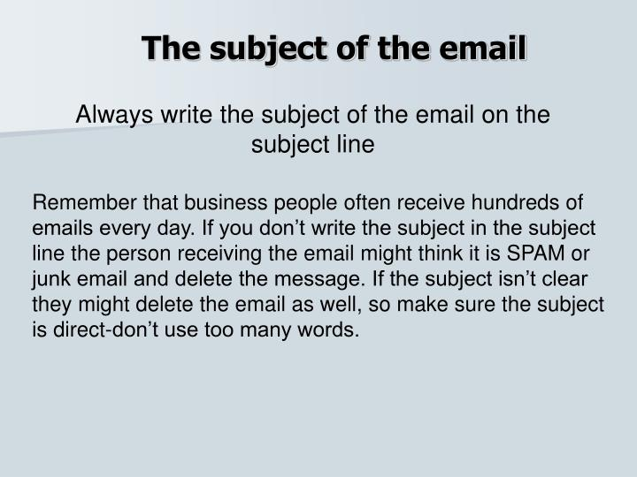 The subject of the email