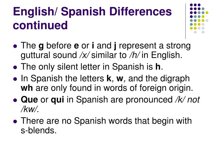 English/ Spanish Differences continued